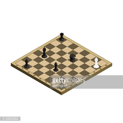 3D isometric chess board with black and white figures.
