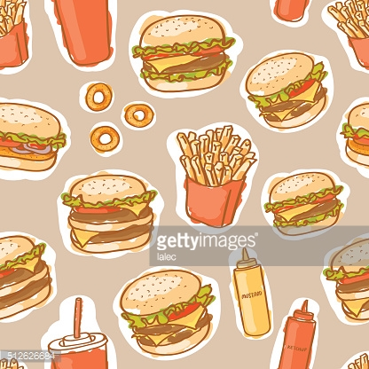 seamless fast food burgers pattern