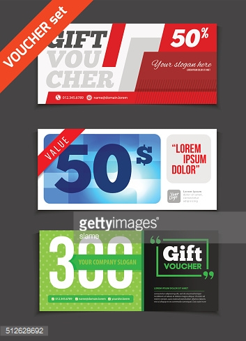 Gift voucher vector set. Sale voucher vector illustration.