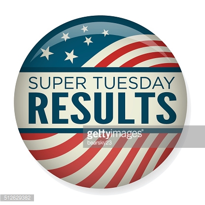 Retro or Vintage Style Super Tuesday Campaign Election Pin Button