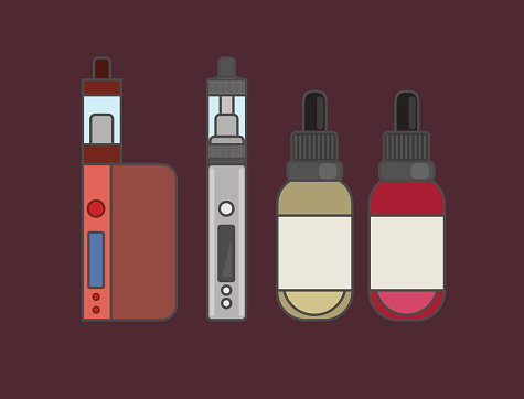 Vape device vector set. Vaping juice for vape.
