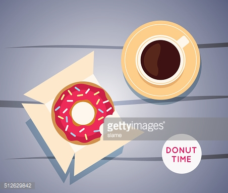 Sweet donut with coffee. Donut on table.