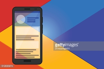 Flat material design. Mobile concept. Vector phone