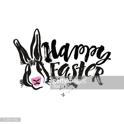 Happy Easter bunny inspirational quote handwritten with black in