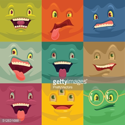 Funny faces. Vector cartoon illustration set