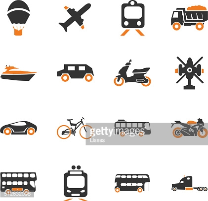 Transport types icons set
