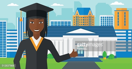 Graduate showing thumb up sign