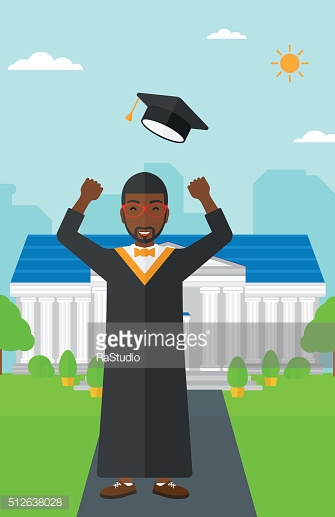 Graduate throwing up his hat