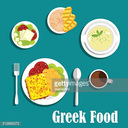 Greek dishes of mediterranean cuisine