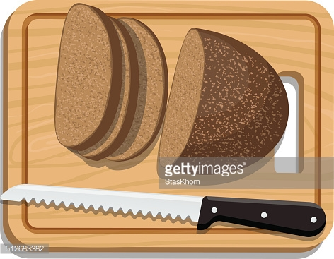 Sliced Bread on Slicing board with knife
