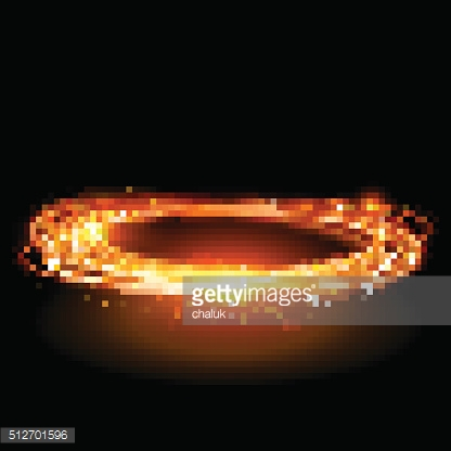 Vector magic gold circle. Glowing fire ring. Glitter sparkle swirl.
