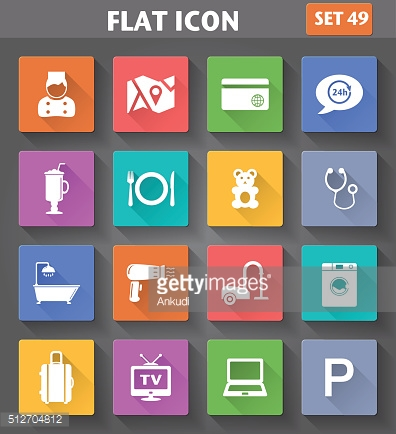 Vector application Hotel Services and Facilities Icons. Set 1