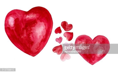 Set of watercolor hearts isolated on white background