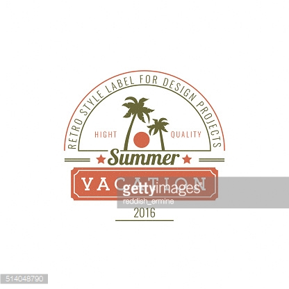 Vacation Hand Drawn Design Element in Vintage Style
