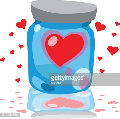 Drawing glass jars, clogged hearts for congratulations on Valentine's Day.