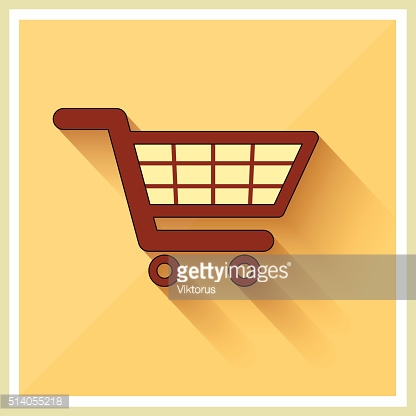 Shopping Cart Icon on Retro Background Vector