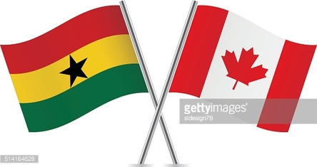 Ghanaian and Canadian flags. Vector.