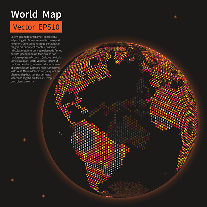 Dotted world map night earth globalization co stock photos dotted world map background night earth globe globalization co gumiabroncs Image collections