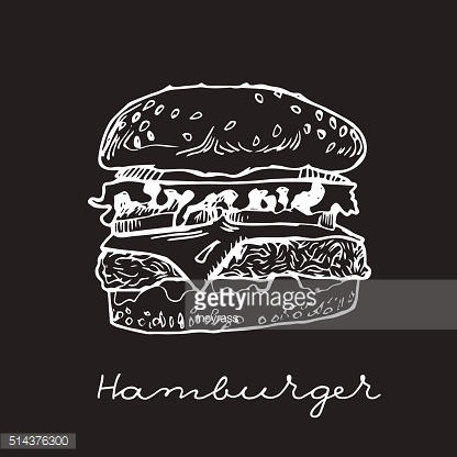 Isolated hand drawn hamburger