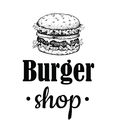 Vector vintage burger label. Hand drawn monochrome fast food ill