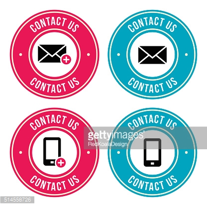 Contact us retro old labels with phone, email icon