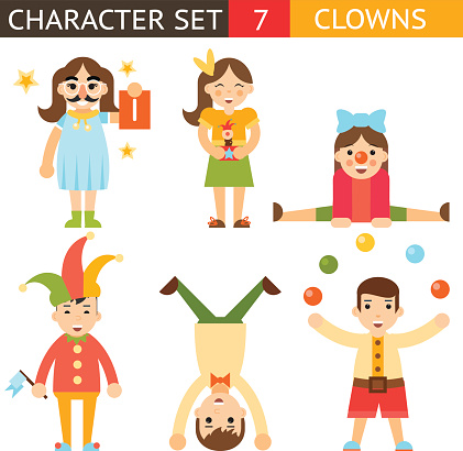 Clown 1 April Joke Fun Boys Girls Characters Icon Set