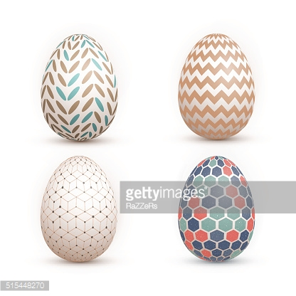 Realistic Vector 3D Easter Egg Set. Happy Easter Painted Vector