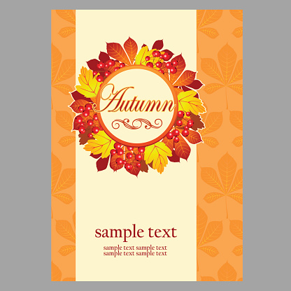 Poster in yellow colors with autumn leaves