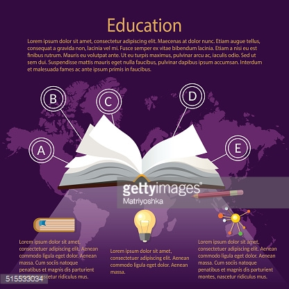 Education infographics open book of knowledge world map purple