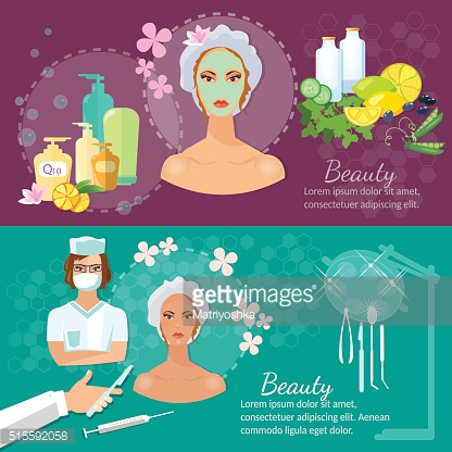 Plastic surgery banner women's beauty skin care aging and youth