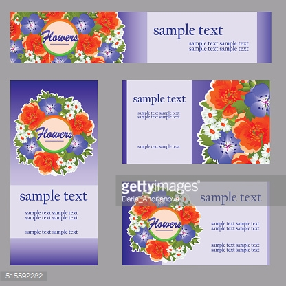 Set of four cards with floral pattern for business
