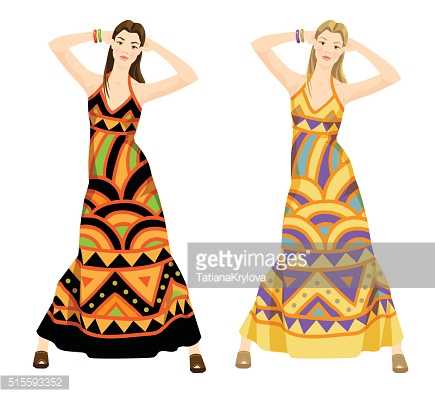 Hippie girl in dress with ethnic ornament.