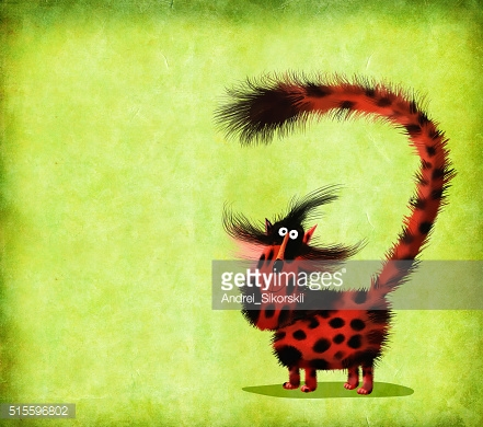 Red Spotted Cat With Long Puffed Up Tail