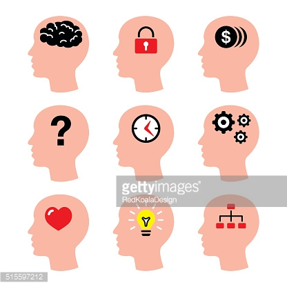 Head, man thoughts, brain vector icons set