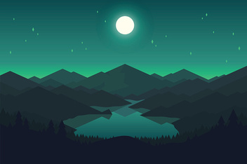 Vector mountain and forrest landscape in the night.