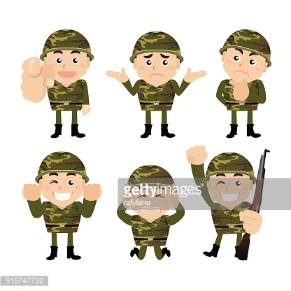Army characters in different poses