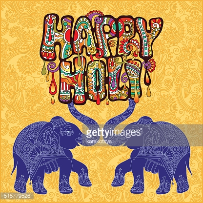 Happy Holi design with two elephants on floral indian background
