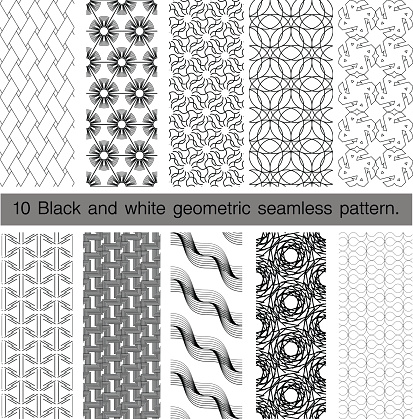 Collection of black and white geometric seamless pattern.