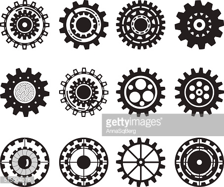 Collection/set of gear wheels isolated on white background.
