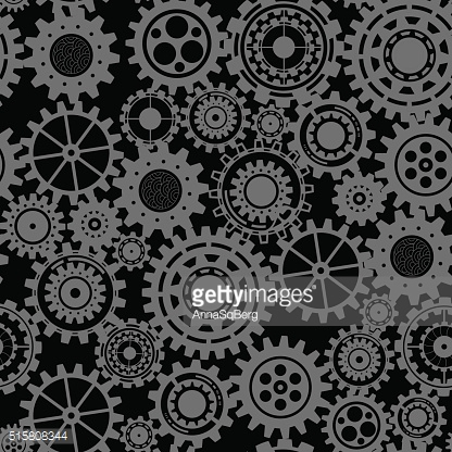 Black gears, steampunk seamless pattern