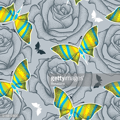 Seamless pattern with dotted rose and butterflies in psychedelic colors