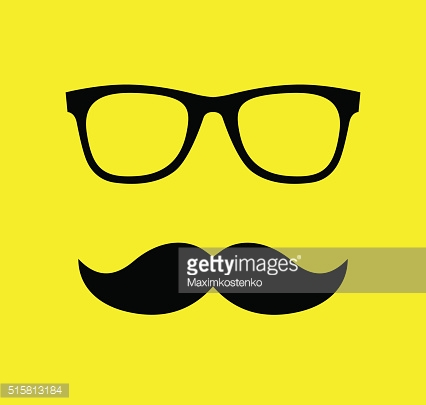 Mustache and Glasses  vector illustration. Flat style icons
