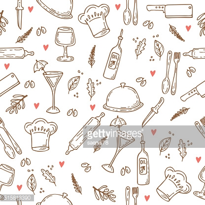 Hand drawn food seamless pattern with hearts. Sketch kitchen