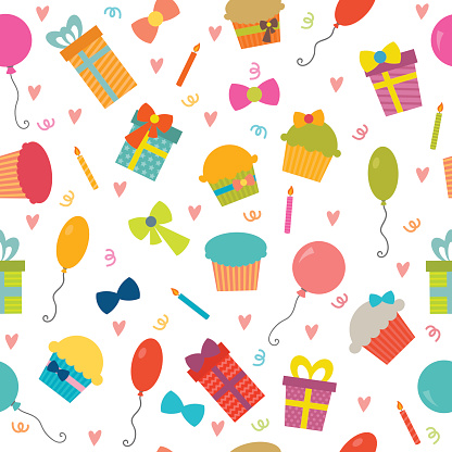 Happy Birthday seamless pattern with hearts. Vector background