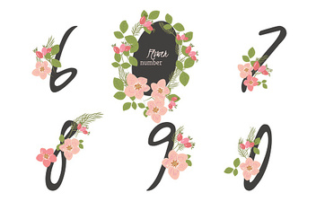 Floral Rosehip  collection numbers in vintage color.