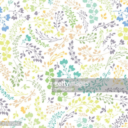 Doodles hand drawn branches seamless pattern.Silhouette