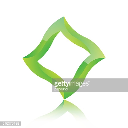 Abstract green 3d square icon