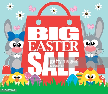 Big Easter Sale with funny chickens and rabbits