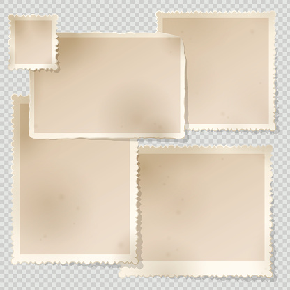 Old Photo Frame template with sharp transparent shadow.