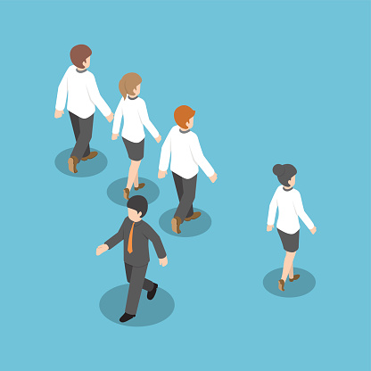 Isometric businessman walking to different way from other people
